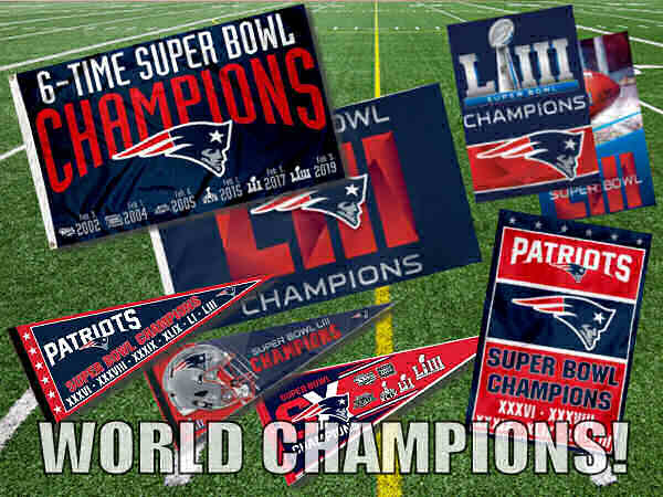 New England Patriots Super Bowl 53 Champions Flags