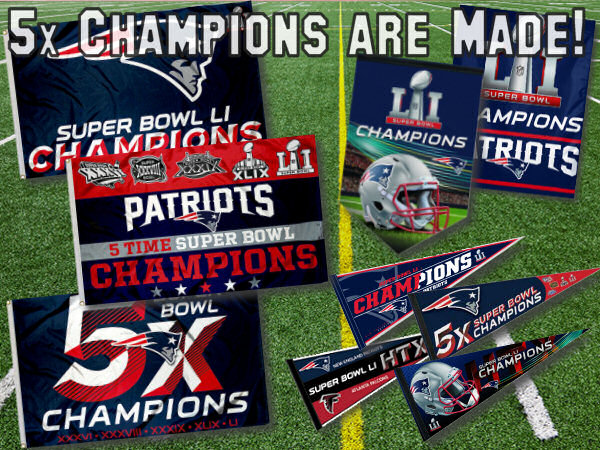 New England Patriots Super Bowl Champions Flags, Banners, and Pennants