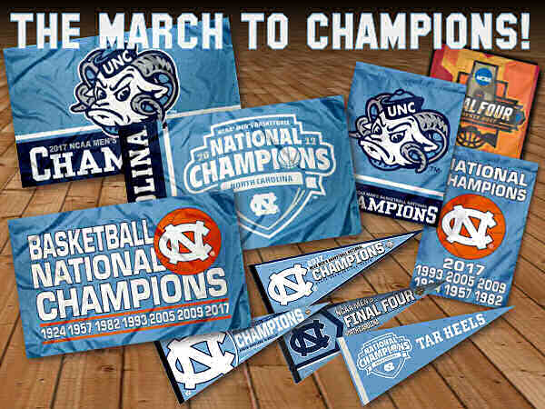 UNC Tar Heels National Champions Flags and Pennants