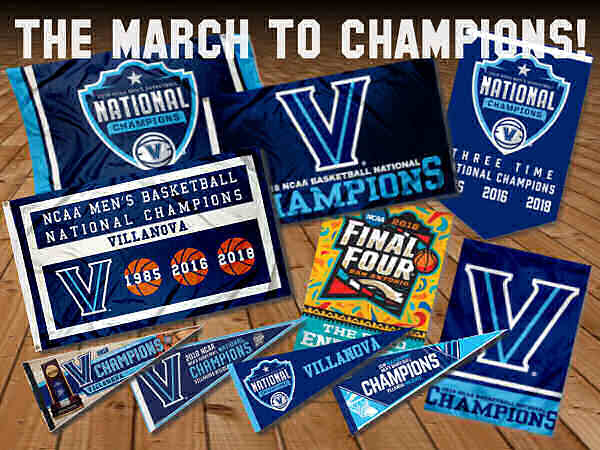 Villanova 2018 Champions Flags and Banners