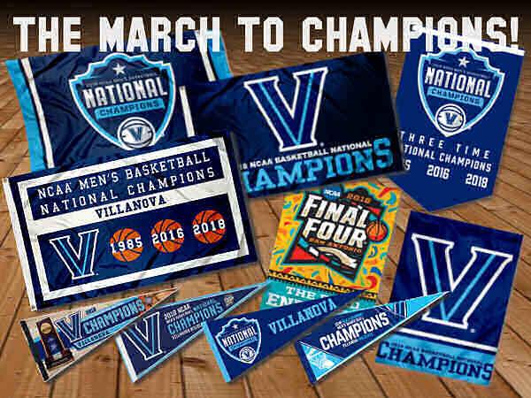 Villanova 2018 Champions Flags and Banners