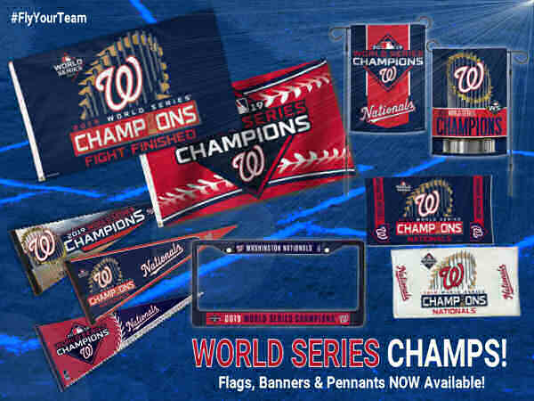 Washington Nationals World Series Champions Flags, Banners, and Pennants