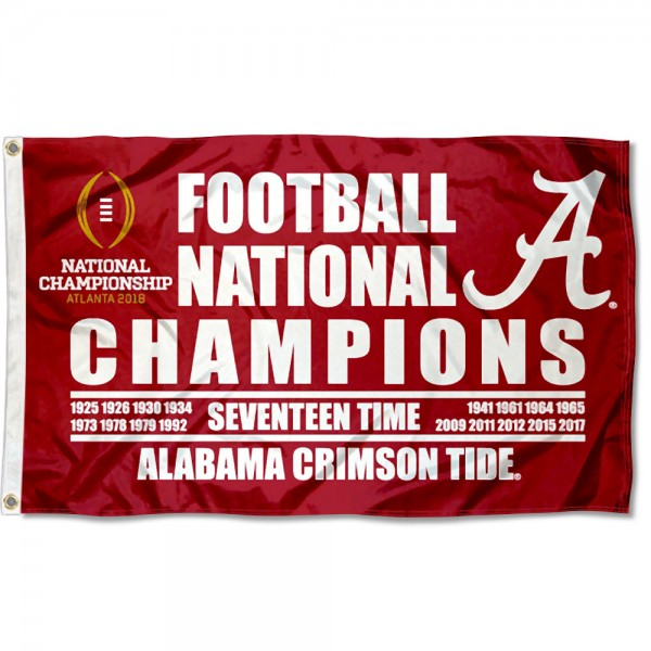 e0fc1ddf70d Alabama Crimson Tide 17-Time NCAA Football National Champions Flag ...