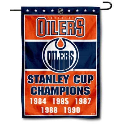 info for 18e6b b9f6a Edmonton Oilers 5 Time Stanley Cup Champions Garden Flag and ...