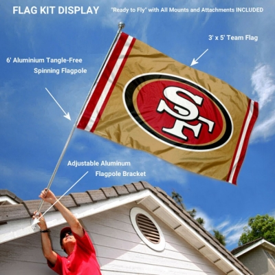the best attitude 2e8e8 d8c70 San Francisco 49ers Gold Flag Pole and Bracket Kit and San ...